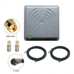 Антенний комплект 3G / 4G LTE R-Net Квадрат Преміум 24 dBi MIMO 2x2 + кабель RG58 + перехідники SMA