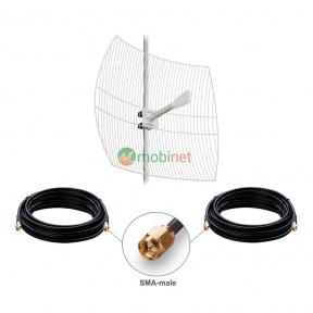 Антенний комплект 3G / 4G LTE Kroks KNA27-1700 / 2700 27 dBi MIMO 2x2 + кабель RG58 + перехідники SMA