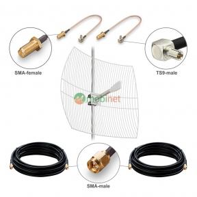 Антенний комплект 3G / 4G LTE Kroks KNA27-1700 / 2700 27 dBi MIMO 2x2 + кабель RG58 + перехідники TS9