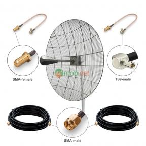 Антенний комплект 3G / 4G LTE Kroks KNA30-1700/2700 30 dBi MIMO 2x2 + кабель RG58 + перехідники TS9